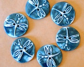 6 Handmade Ceramic Buttons - Dragonfly Buttons in Denim Stoneware