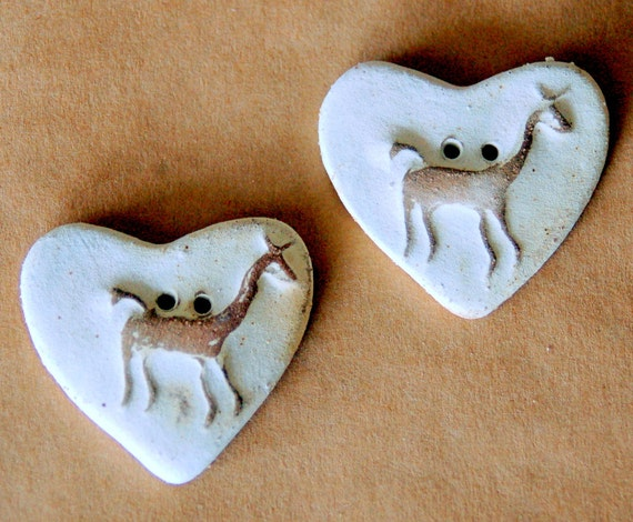 2 Sweet Stoneware Llama in a  Heart  Buttons