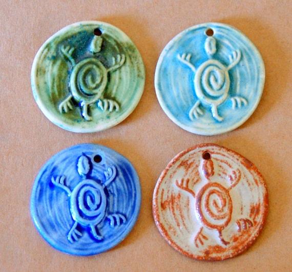 4 Handmade Ceramic Turtle Beads.