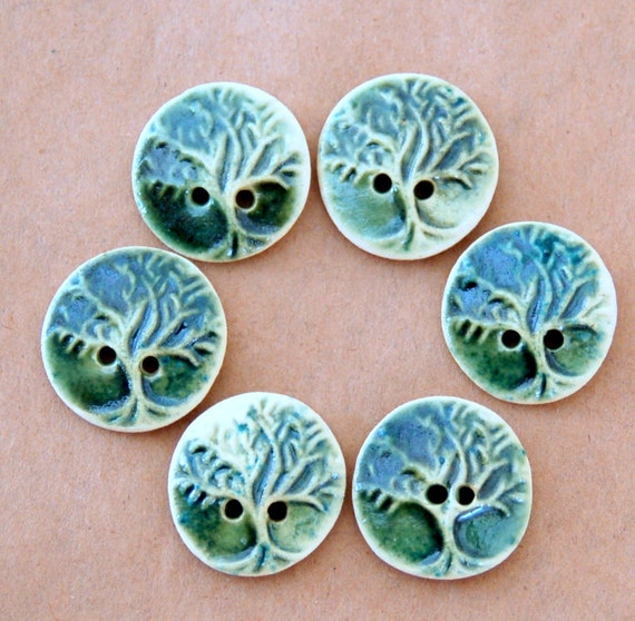6 Handmade Ceramic Buttons - Tree of Life Buttons - Small Tree Buttons in Green Stoneware