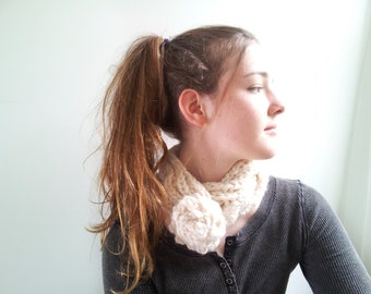 Cream Cowl. Winter White Handknit Cabled Necklet with Crochet Flower Button