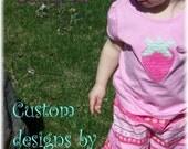 New Custom boutique girls chenille 3T short sleeve strawberry shirt Super fun sale