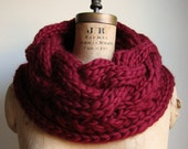 Oversized Cable knit cowl Oxblood Infinity scarf
