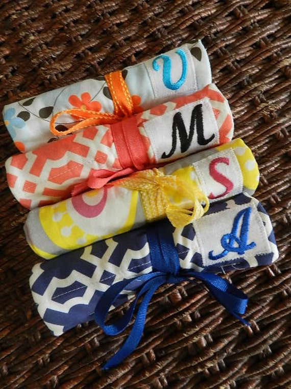 Set of 4 Bridal/Hostess Gifts Quilted Travel Jewelry Roll with Monogram - Create your own FREE SHIPPING
