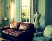 Full Sized Female Home Decor Display Mannequin Dressform Chevron Blue & Natural - Riley