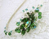 Emerald Wedding Green Rhinestone Headband Hair Jewelry Crystals  Bridal Formal Pageant