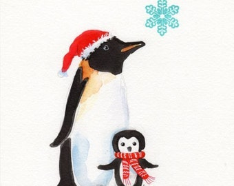 Penguin print, Santa, Penguin,  Christmas Art,  Holiday Decor, Children's nursery art, Print