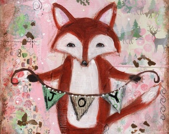 Fox print, Holiday Decor, Woodland animal, Nursery Art, children's art,  8 x 10 print, Whimsical fox,