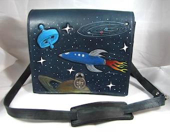 Rocket Ship - Leather Messenger Bag