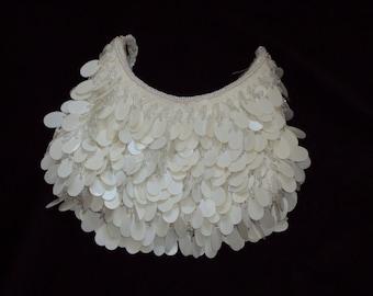 La Regale / White Purse / Vintage / Beaded Evening Handbag w/ Paillette Sequins