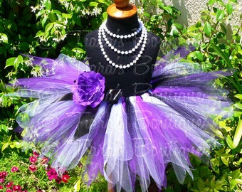"Girls Birthday Tutu Skirt - Symphony - purple white black - Custom SEWN 11"" Pixie Tutu - sizes Newborn up to 5T"