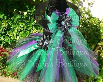"Tutu Witch Costume - Esmerelda  Witch - Green Purple Black Tutu - Custom Sewn 15"" Pixie Tutu & Witch Hat - sizes up to 5T - For Halloween"
