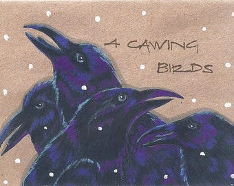 Raven Crows blank Holiday Card