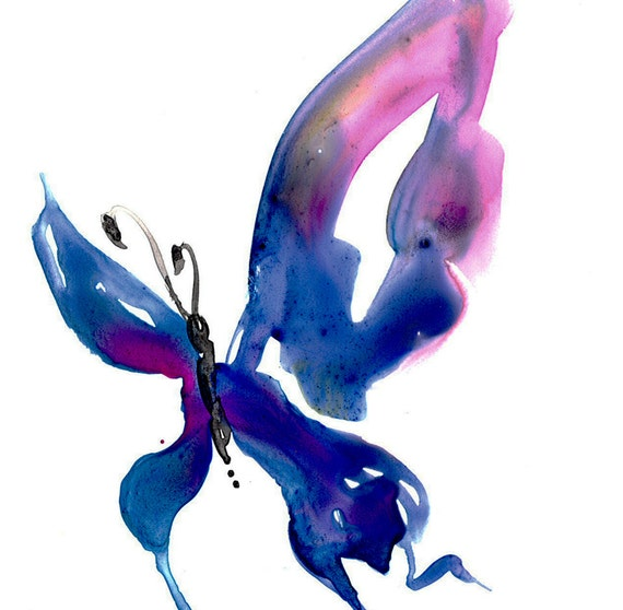 Butterfly Song 11 ... Original abstract watercolor art ooak painting by Kathy Morton Stanion  EBSQ