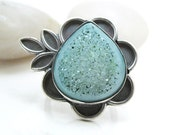 RESERVED Turquoise Druzy Ring Sterling Silver Flower Leaf One of a Kind Jewelry Size 7 Ring - Water Lily