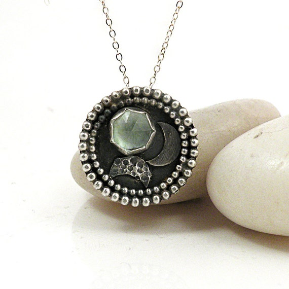 30% OFF SALE Green Amethyst Necklace Sterling Silver Medallion Pendant Prasiolite Rustic Jewelry - Medallion Necklace