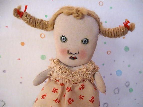 calico dress art doll- ooak doll- Rosie- tea stain-- ugly cute- folk- blonde art