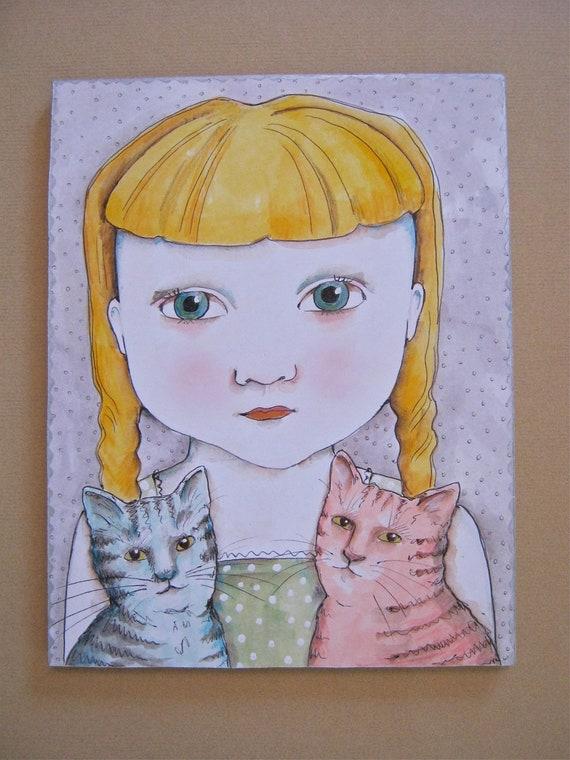 cat art- Blue cat Pink cat- wood cut out - illustration on board- children- nursery art- meow- sweet illustration