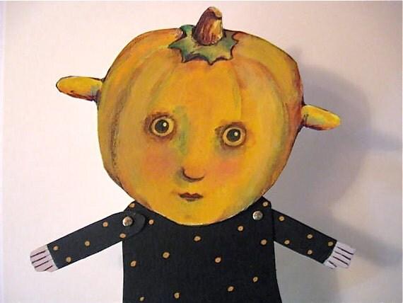 Paper doll dancing Halloween- pumpkin art- cut out--  Miss Autumn Day- articulated- euc team- ugly cute- paperdoll- Halloween
