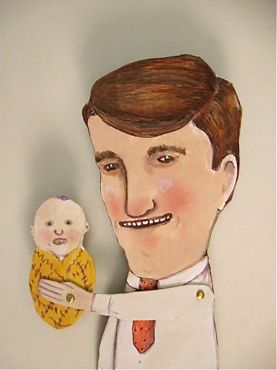 New Baby New Dad Paper doll- articulated paper doll- hand cut- hand painted- funny- humor- original illustration
