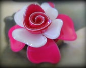 Romantic Statement  Hot pink and white Bloom Brooch Pin Prom-Bohemian Vintage style  Pink lucite rose brooch-3D rose pin