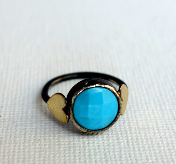 Faceted Turquoise in Handmade Sterling Silver Ring with Hearts
