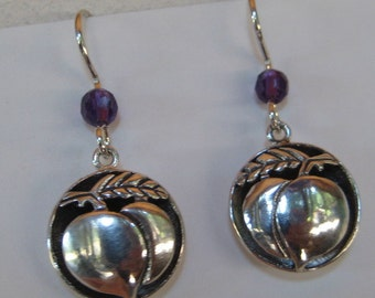 Shadow Box   Peach earrings  ....    Sterling SIlver ........................                  e316