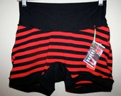 Womens ALL SiZES black and red striped high waisted shorts boxer briefs HaNDMADE UNDERWEAR