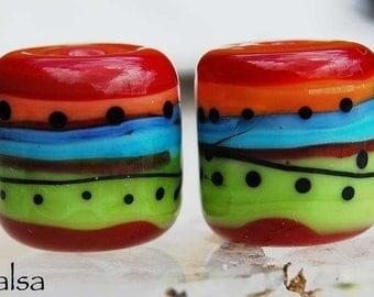 Salsa, 2 red, green, blue and orange handmade glass beads, barrel beads by Beadfairy Lampwork, SRA