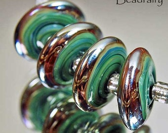 Golden Seafoam Discs , lampwork beads in green with shiny gold , glass beads by Beadfairy Lampwork, SRA