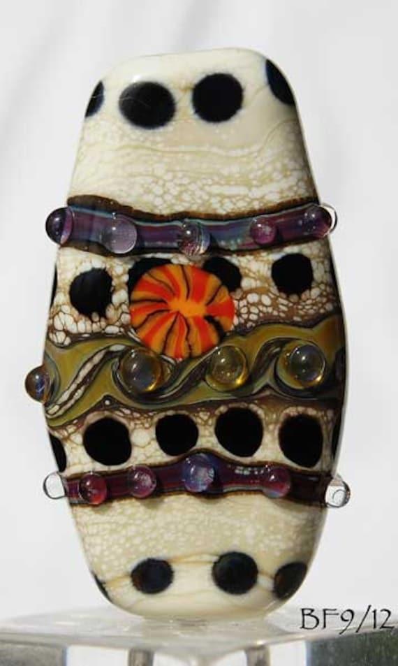 SALE Organic Lampwork  focal bead in ivory, green brown with murrini handmade glass beads by Beadfairy Lampwork, Ooak, SRA