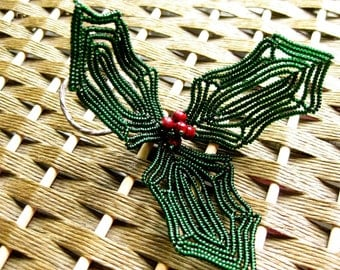 French beaded Christmas ornament, large holly decoration