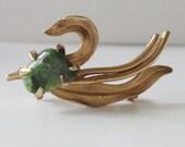 RESERVED  Vintage Jewelry Coro Brooch Jewelry Swan w Aquamarine Stone