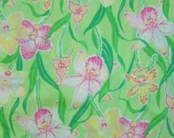 """Lilly Pulitzer fabric """"PALM GREEN ORCHID"""", cotton,  18""""x18"""""""