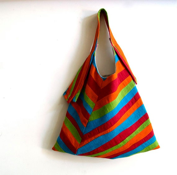 spring striped sling tote - linen tote bag