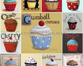 Cupcake Collage Red Print