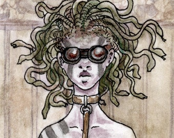ACEO steampunk medusa painting print - Mlle. Meduse
