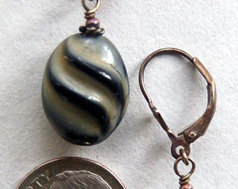 Vintage German, gray with black curved striped glass beaded sterling silver lever back pierced earrings