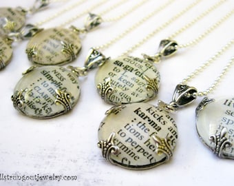 Dictionary Glass Pendant -Original Vintage Text -  Your  Choice of Word