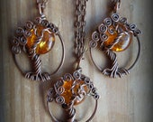 Moon/Sun Amber in a Tree Necklace