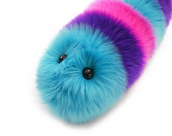 Caterpillar Stuffed Animal Cute Plush Toy Caterpillar Kawaii Plushie Calypso the Aqua Purple and Hot Pink Snuggle Worm Toy Medium 6x18 Inch