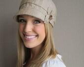 Linen Newsboy Hat- NEW ETTA- womens medium- khaki washed linen