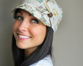Floral Linen Newsboy Hat- womens SMALL