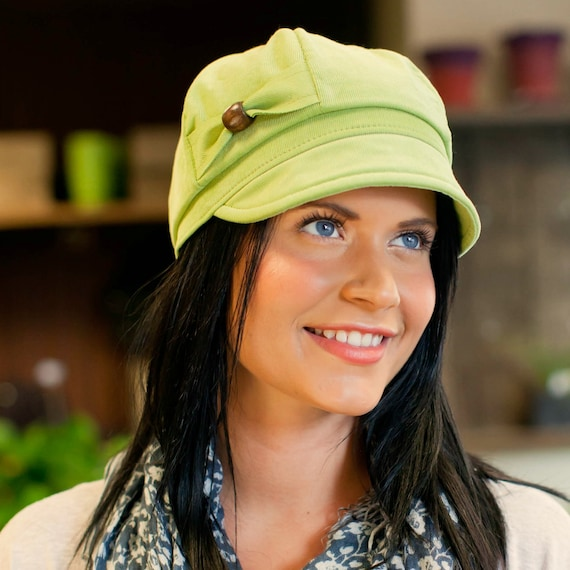 Womens Hat- Cotton Corduroy in Leaf Green- Mamie newsboy cap, size Medium