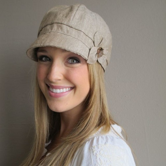 Linen Newsboy Hat- NEW ETTA- womens medium- khaki washed linen