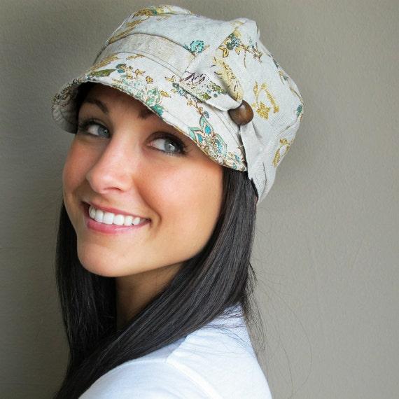 Floral Linen Newsboy Hat- womens SMALL