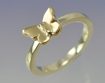 9k Yellow Gold Butterfly on a Sterling Silver Ring.