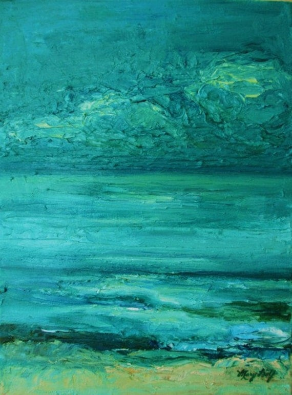 Original Modern Textured Landscape Painting- Sea Blue Contemporary Impressionist Canvas