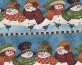 Cute Christmas Snowmen In A Roll Fabric Craft Fabric By Angela Anderson (Last Chance)