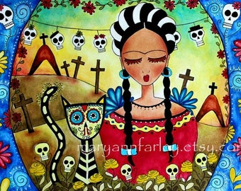 Frida Kahlo Girl Art Print, Day of the Dead Mexican Art Illustration, Cat Art 5 x 7 or 8 x 10, Watercolor Mixed Media Art Print, Red Black